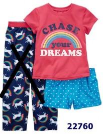 Bộ Carter's áo đỏ cầu vồng Chase + quần xanh chấm bi