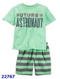 Bộ Carter áo xanh lá Future+quần sọc xanh xám