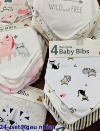 Set 4 khăn yếm Baby Bibs (màu ngẫu nhiên)